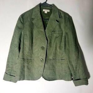 Coldwater Creek Textured Fabric Olive Green Blazer